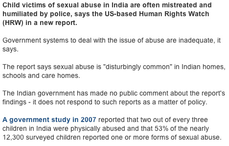 Excerpt of BBC report on Child sex abuse in India