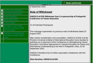 UNESCO Notice of Withdrawal from Sai Baba Educational  Conference on strengthening values etc.