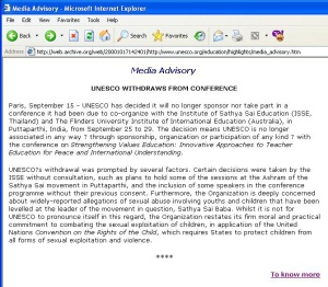 ADVISORY FROM UNESCO ANNOUNCING WITHDRAWAL FROM SATHYA SAI BABA EDUCATIONAL CONFERENCE DUE TO SEX ABUSE REPORTS