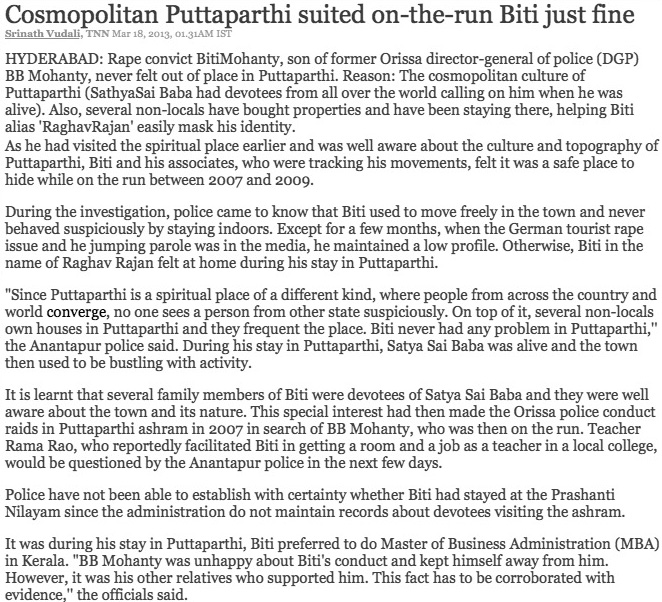 Text from Times of India article - click on image to go to source