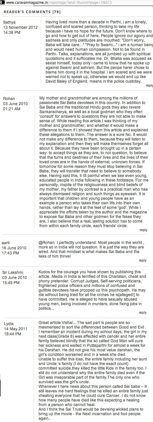 Some of the 78 comments made after Vishal Arora's articel on SB 'The Land of Illusion'