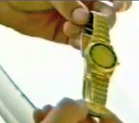 Alleged 'gold watch' which Sai Baba pretended to 'materialise' before Alaya Rahm which failed and its gold coating flaked off.