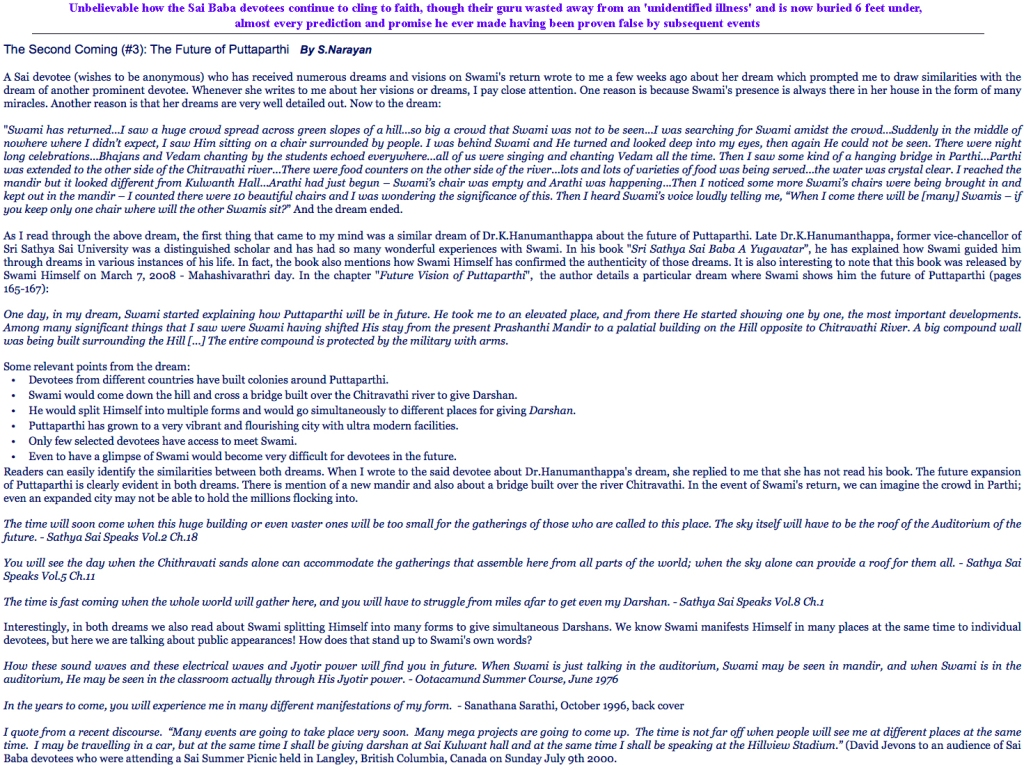 Second Coming of Sathya Sai- future of Puttaparthi - predictions in Sai-fantasy. FOUND AT http://kingdomofsai.blogspot.no/2013/01/the-second-coming-3-future-of.html
