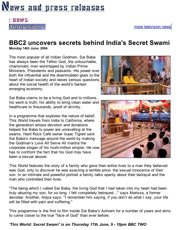 Original announcement by BBC2 of the groundbreaking film 'The Secret Swami'.