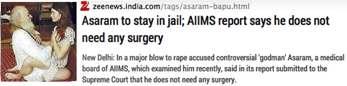 text from zee news with added photo of Asaram sex