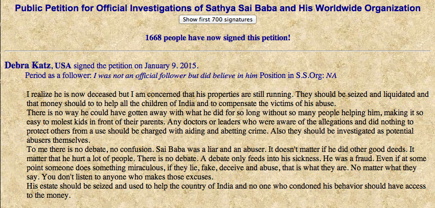 Scan of latest signature on the Sai petition. Click on image to see source