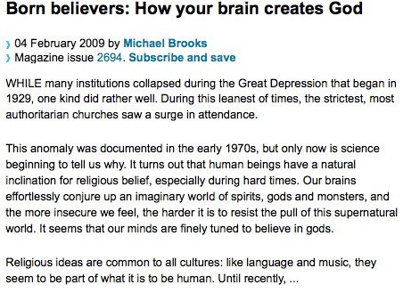 God is brain-created